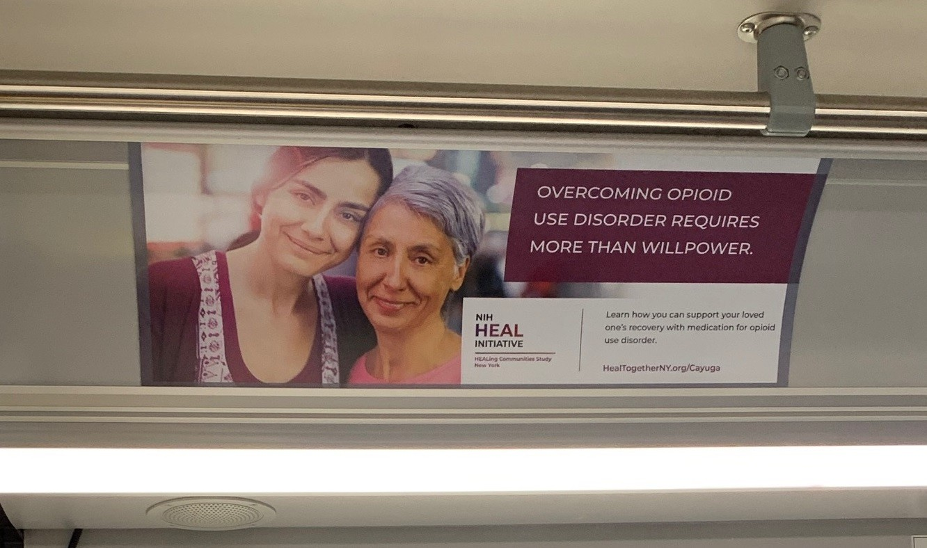 "Sign inside buses: ""Overcoming opioid use disorder takes more than willpower."""