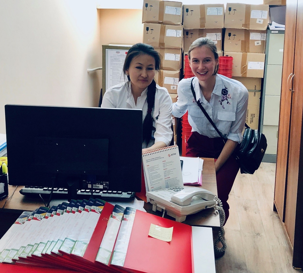 Sophia and a nurse at a Trust Point which provides HIV rapid testing and counseling in Almaty, Kazakhstan