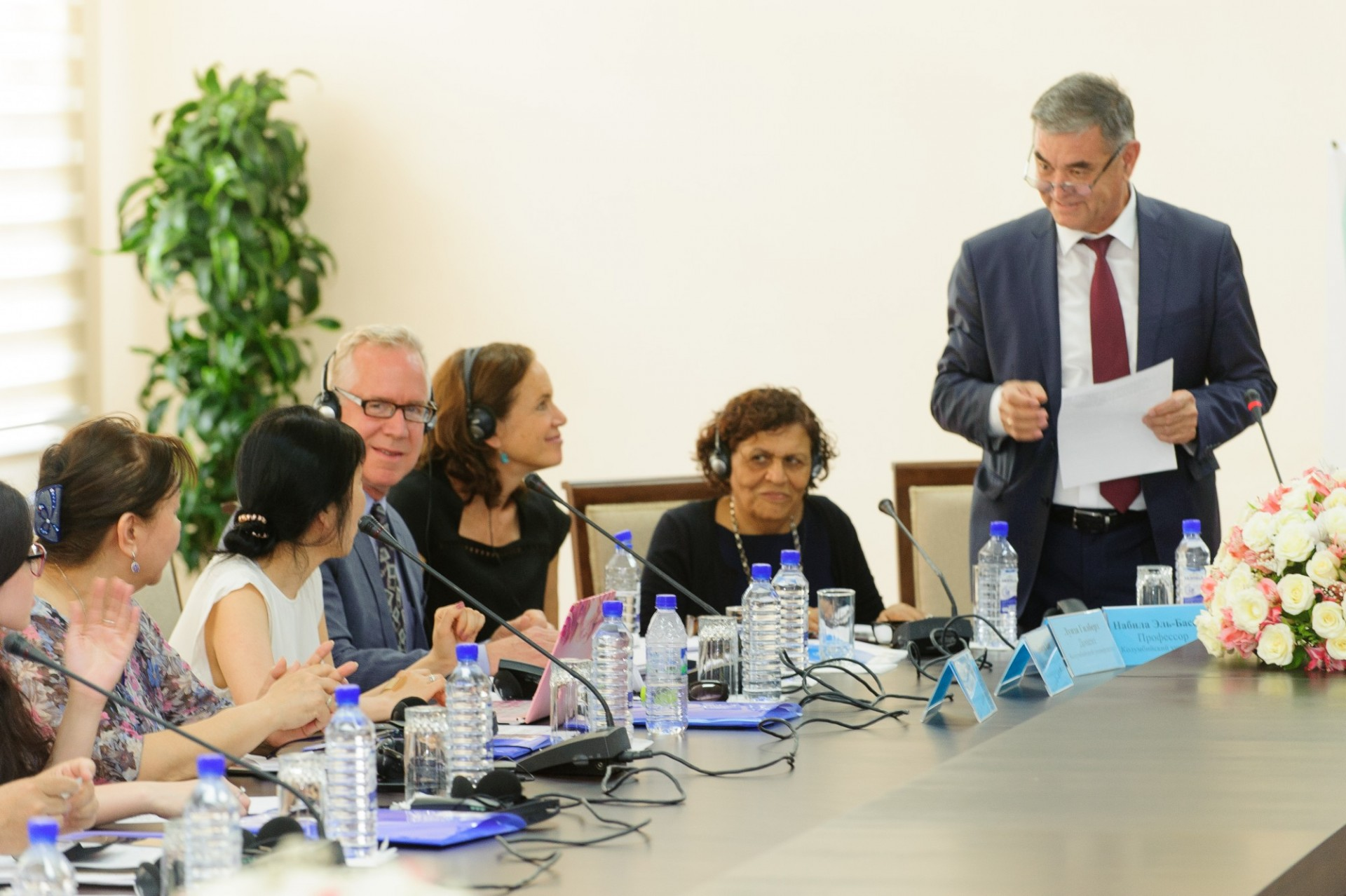Project launch meeting June 2018 at the National University of Uzbekistan, Tashkent, Uzbekistan with presentations by: Dr. Avazjon Marakhimov, Chancellor of the National University of Uzbekistan; Ms. Tanzila Narbaeva, Deputy Prime-Minister, Chairperson of the Women's Committee of Uzbekistan; Mr. Sascha Graumann, UNICEF Representative in Uzbekistan; Drs. Nabila El-Bassel, Louisa Gilbert and Timothy Hunt, and Ms. Lyudmila Kim of SIG/CSSW
