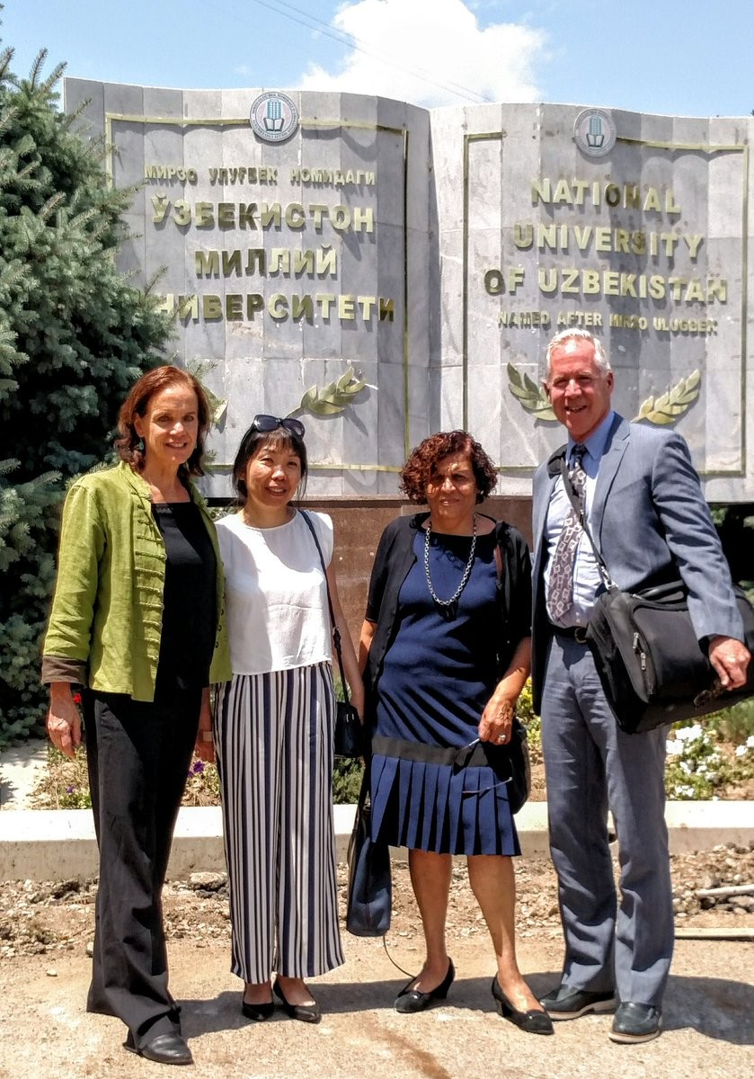USWEEP team at the National University of Uzbekistan, one of the university partners. L-R: Louisa Gilbert, Lyudmila Kim, Nabila El-Bassel, and Timothy Hunt