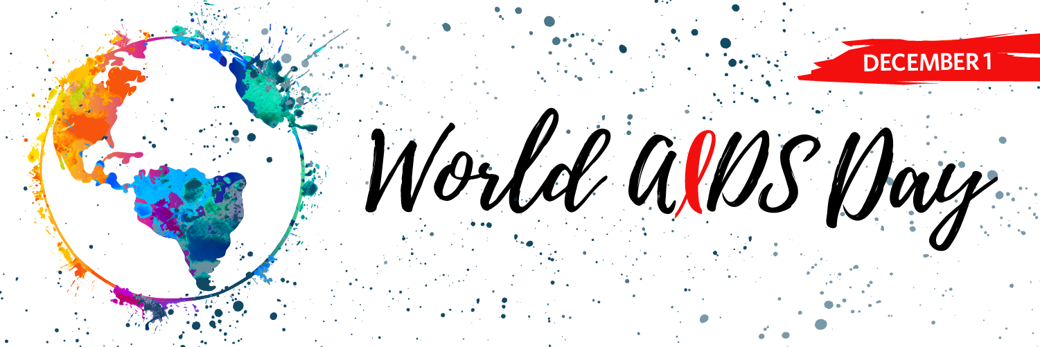 world aids day banner with a globe full of colors